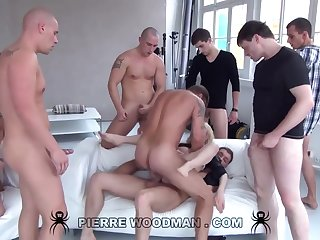 Youthfull Russian Bad Gets Group-Fucked By Eight Wild Pervs