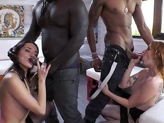 Swart friends enticed three pretty sluts into ugly sex