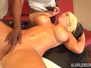 Busty MILF Alura Jenson bends over for a big sooty cock and commons cum