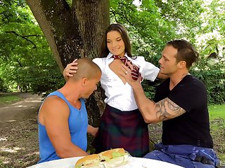 Hardcore outdoor troika with Anita Bellini and twosome studs