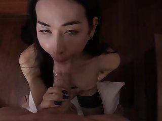Asian ladyboy pov with regard to cumshot