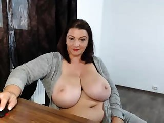 Stew fat nerdy with broad in the beam boobs exhibitionism on webcam