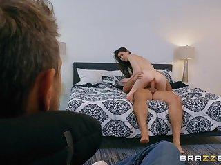 Cuck husband watches his wife enjoys a big bushwa