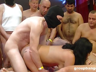 Black haired slut helter-skelter red lipstick cum sprayed in a threesome