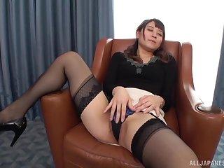Konoka Yura likes regarding ride on her lover's permanent penis on the armchair