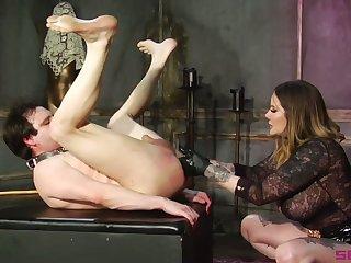 Using huge strapon dominant Mr Big whore Maitresse Madeline Marlowe fucks dude