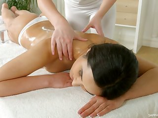 Two concupiscent babes are licking and eating each others pussies on the massage ship aboard