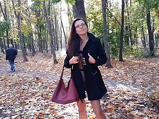 Dishwater Ungenerous PANTIES in Pantyhose #PUBLIC Autumn Parkland