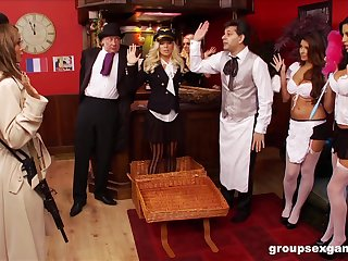 Sexy and costumed Amy Azzura,adores group sex games in eradicate affect room