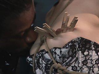 Interracial torturing with a big jet-black pecker and Sasha Grey