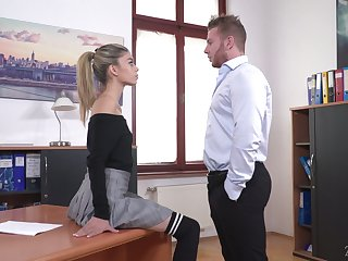 Light haired chick Ciara Riviera is naughty secretary who loves some steamy fuck