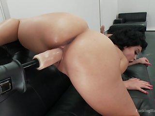 Mia Austin masturbates using their way long sex toys and a planner