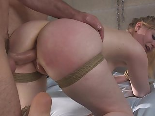 Obedient step daughter sucks the unearth in full bondage