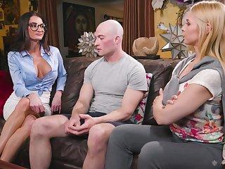 Sex-starved babes Sarah Vandella and Silvia Sage bang one bald headed dude