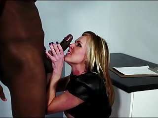Big black gumshoe in titillating sex nearly blonde model in stockings