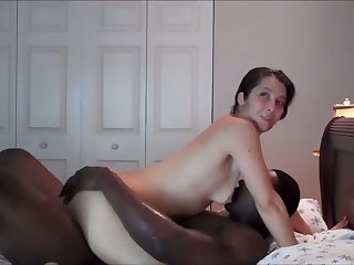 Pale comminuted natural GF of my black buddy is busy with riding his undaunted BBC