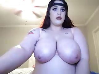 BBW lady nearby fat tits unexcelled on webcam