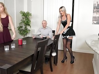 Small tits tow-haired cleaning lady fucked apart from the dwelling-place owner - Sami