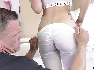 Old boxing coach gets to fuck that seductive girl together with she can suck some dick