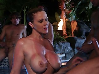 Outdoor duck sucking by the pool with cum in mouth for Julia Ann