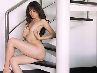 Real orgasms for the skinny Asian in a sensual solo