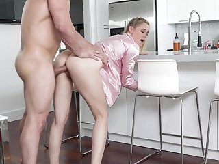 Hot uncle's wife in pajama Addie Andrews offers herself in the kitchen