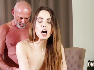 Having it away tight vagina making her wet be required of grandpa
