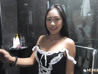Sexy Filipina mademoiselle shows striptease in the shower