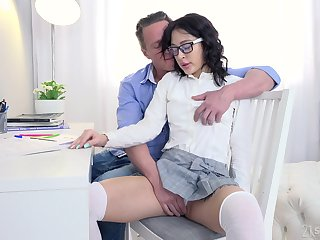 Private tutor gives a sex starved nympho a lesson in pleasure