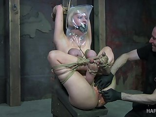 Tied up blond bitch Cherry Patched gets her pussy toyed in the basement