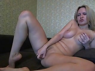 blonde marina masturbating give dildo