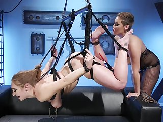 Skylar Snow fully submits at hand Domme Ryan Keely's dungeon
