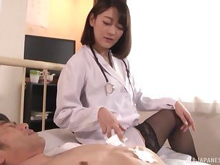 Nishino Shou wears stockings and goes right down to the ground on a lucky guy's dong