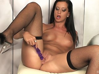Sweet solely model Larissa Dee takes off her panties to masturbate