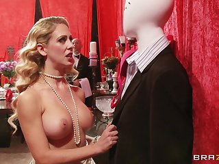 Busty blonde pornstar Cherie Deville fucked by a giant white dick