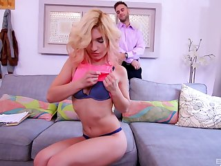 Incredible fucking with seductive blondie Nikita Teen in transmitted to living-room