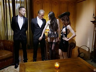 Double penetration foursome with stunning Arwen Gilded & Ariel Rebel