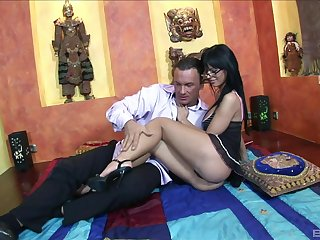 Brunette encircling sexy glasses, nice display of pure porn encircling an older man