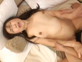 Loud Japanese woman gets her tight, fuzzy cunt pummeled hard